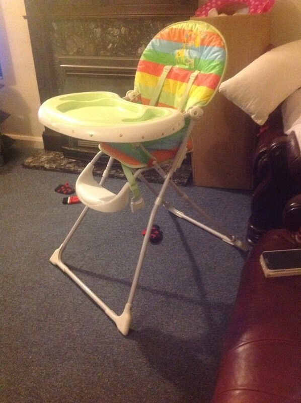 Baby feeding high chairin Burnham, BerkshireGumtree - Portable and foldable high chair with stripes. In a good and working conditions, easy storage. From smoke and pet free home. Collection only Message only 07516925807