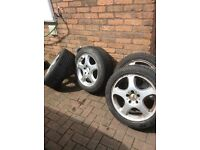 MERCEDES SET OFF 17 INCH ALLOYS WITH 235/45x17 TYRES AND LOCKING-BOLTS