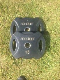 Pair of Jordan urethane 15kg Olympic plates