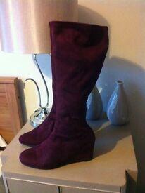 M&S Mauve Long boots wide fit size 7.5