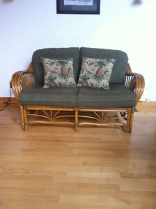 Boca Rattan love seat, chaise, table