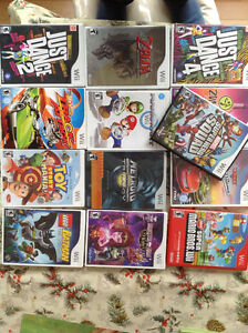 Wii games including Mario, Zelda, and more