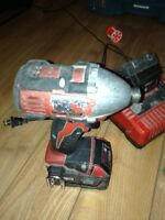"Milwaukee 1/4"" impact driver with 3 batteries"