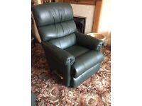 Lazy boy recliner in green leather