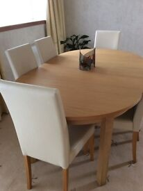 NEXT Oak Extending Table & 6 Chairs - used twice!