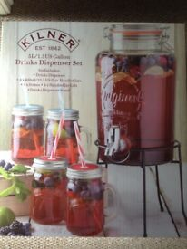 Kilner 5L Drinks Dispenser with stand, mugs, lids & straws