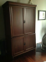 Armoire, bed & two night stands
