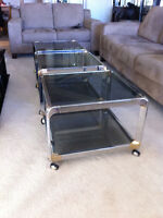 Smoked Glass and Chrome Coffee Tables