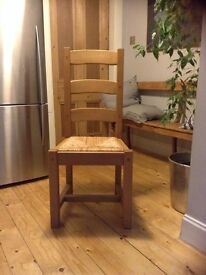Set of six wooden dining chairs