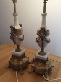 Antique style brass and marble lamps
