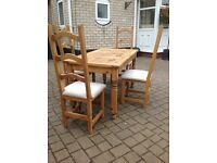 Solid Pine Farmhouse Dining Table & Chairs