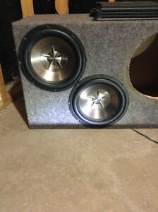 sub box, subs and amps