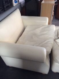 Leather 2 Seater with large footstool/ with pullout bed