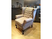 Gorgeous next fabric covered Antique vintage Chesterfield armchair very comf