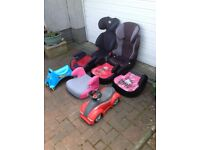 Car seats, booster seats and ride on toys