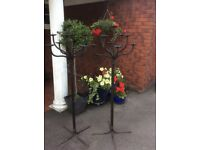 Pair of Wrought Iron Floor Standing Candle Holders
