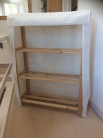 Canvas storage shelving unit like book shelves