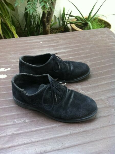 Genuine Dr Martens Black Suede shoes with air cushion. Acid, petrol oi alkali resistant.