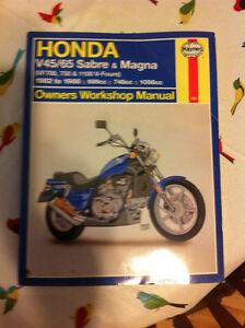 Haynes shop manual honda sabre et magna 1982-1988 V-4