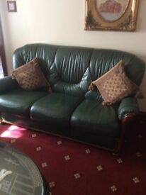 Three seater real leather & wood settee with two chairs excellent condition