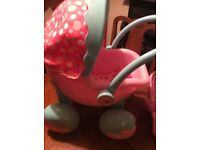 Dolls Pram Pink with pram Cover.