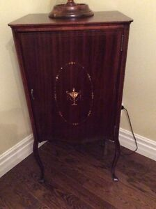 MAHOGANY WINE/LIQUOR CABINET-CONVERTED OLD MUSIC CABINET