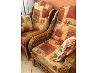 Cane BRUNO 3-Piece Conservatory Wicker Suite - Settee, Two Chairs, Extra Scatter Cushion Covers