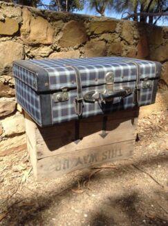 Huge Vintage Blue Tartan Suitcase Truro Mid Murray Preview