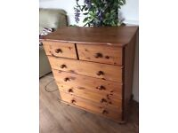 SOLID PINE CHEST OF DRAWERS FOUR PLUS THE TWO ON THE TOP