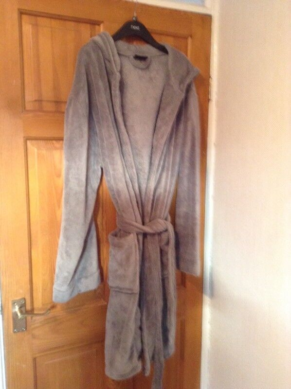 Men s hooded grey velour dressing gown  da519fd7b