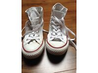 Converse White Hi Tops - UK size 5
