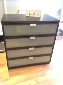 Ikea black/brown 4 drawer chest with glass from drawers