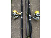 Two Masterline uptide 9' sea rods with two PennCaptiva reels with line.