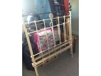 Antique single iron and brass Bed