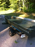 2013 14ft tracker Jon boat with motor and trailer