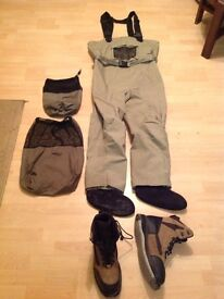 Breathable stocking foot chest waders and boots size L , with 11/12 wading boots