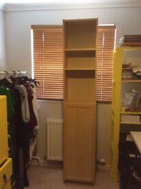 Ikea tall cupboard shelves bookcase office storage unit beech