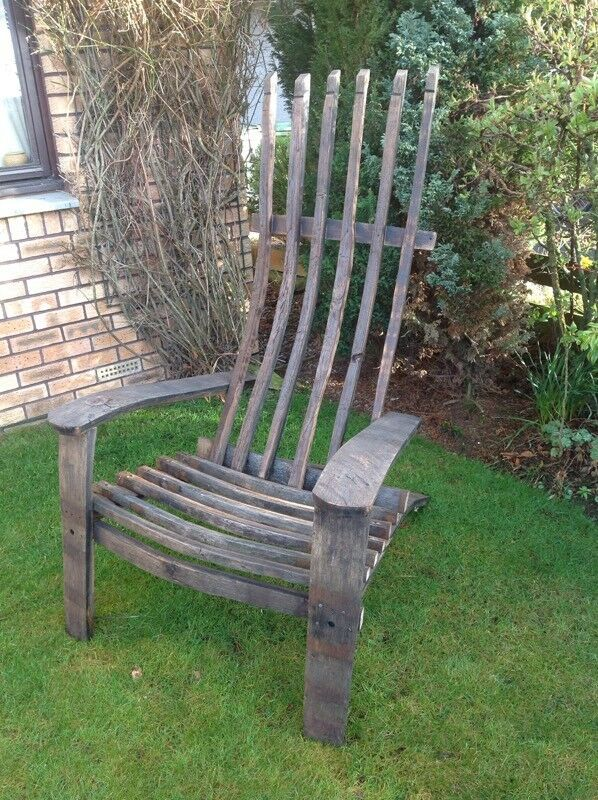 Upcycled whisky barrel chair