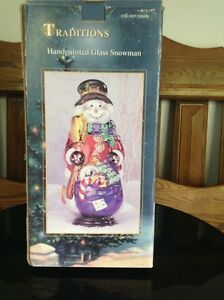 Large hand painted Glass Snowman