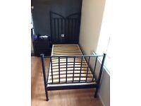Solid metal black bed frame