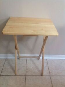 Wood Folding TV side Tray Table