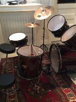 Red Trak Drum Set With Sabian Cymbals