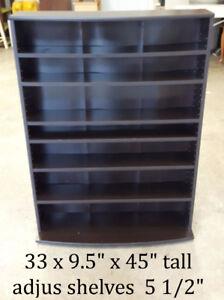 Storage or display shelf with adjustable shelves