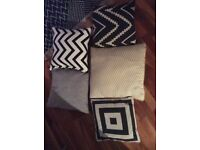 5 cushions with covers square patterned - yellow, black, white, grey