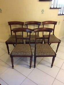 Set of 5 Antique Regency Dining Chairs