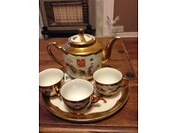 Decorative Chinese Teapot, Teacups and Tray