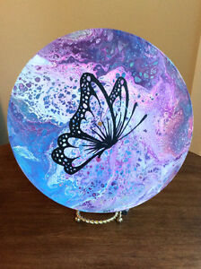 Original abstract art on vinyl record (butterfly)