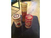 3 retro vintage storage tins 20x10cm & 32x9cm