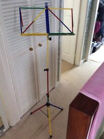 Children's multicoloured collapsible music stand with bag