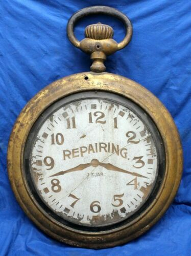 antique POCKETWATCH REPAIR Cast Iron Sign w/ Glass Dial Advertising GWT Co. KJAR